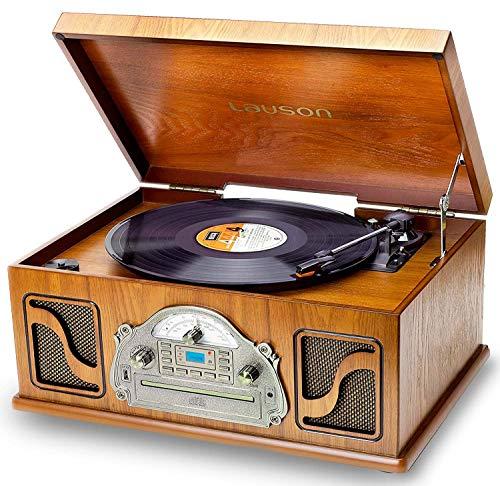 Nostalgie Plattenspieler mit Lautsprecher | Musikanlage mit Retro Radio Bluetooth | Stereoanlage mit CD und Bluetooth | 3-Gang 33/45/78 | USB Aufnahmefunktion | 2 Stereo Lautsprechern Aux in RCA