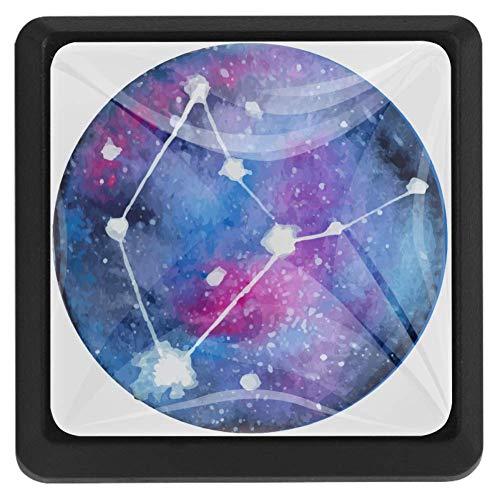 Vierkante ladeknoppen, 3 Packs 37mm Trekhendels met sterrenbeeld Horoscoop Sterren Vissen, Gebruikt voor Slaapkamer Dresser Deur Kast Keuken Modern design 37x25x17mm/1.45x0.98x0.66in Zodiac sterrenbeeld Horoscoop Sterren Maagd