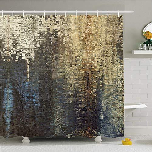 Douchegordijn 72 x 72 inch Regular Aquarel Tegels Abstract Gekleurd Geometrisch Patroon Pixel Net Mozaïek Grid Vintage Blok Waterdicht Polyester Stof Badkamer Set met Haken