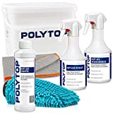 Detailmate POLYTOP - Set de lavado de barniz mate (500 ml, 500 ml, limpiador intensivo de 500 ml, barniz mate Polytop, 500 ml, gamuza de microfibra XXL y manopla)