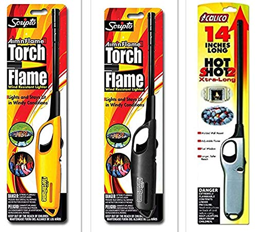 3 Pack - 2 Pack Scripto Multi Purpose Wind Resistant Lighter (Assorted Color) + 1 Pack Calico Hot Shot 2 Xtra Long Camping Grilling Home, Adjustable Flame
