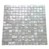 Art3d 10-Pack Oyster Mother of Pearl Square Shell Mosaic for Kitchen Backsplashes, Bathroom Walls,...