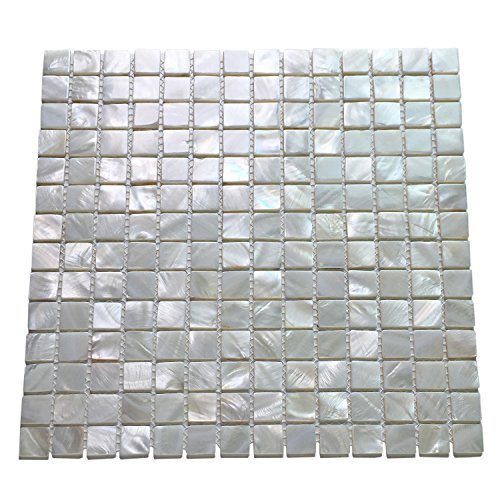 Art3d 10 Stück Perlmutt quadratische Muscheln Mosaik für Küche Backsplash Badezimmer Wände Spa Fliesen Pool Fliesen