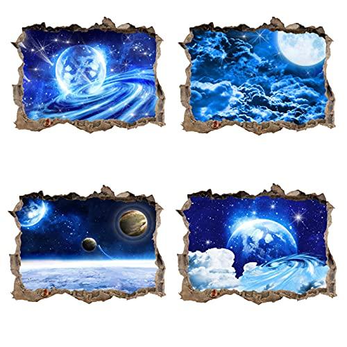 ahliwei 4 Juegos de Pegatinas de Pared colección sueño 3D Pared Rota Planeta Cielo Estrellado Pegatinas de Pared Sala de Estar Dormitorio decoración de la habitación de los niños Pintura 4 Piezas