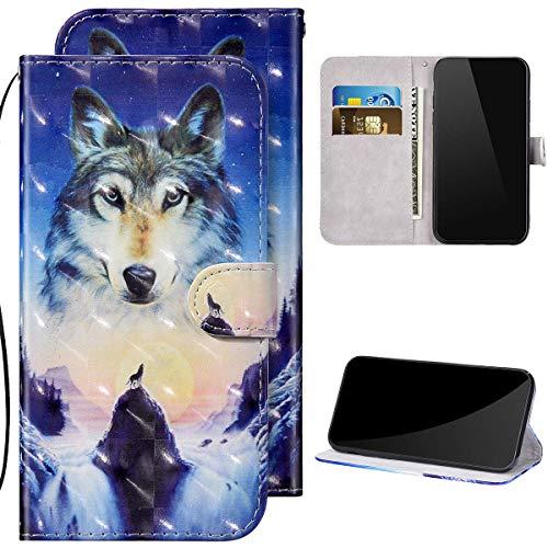 Kompatibel mit Huawei Y6 2019 Hülle Ledertasche Brieftasche Schutzhülle Flip Case,3D Glitzer Glänzend Bunt Bemalt Muster PU Leder Klapphülle Tasche Handyhülle für Huawei Y6 2019,Wolf