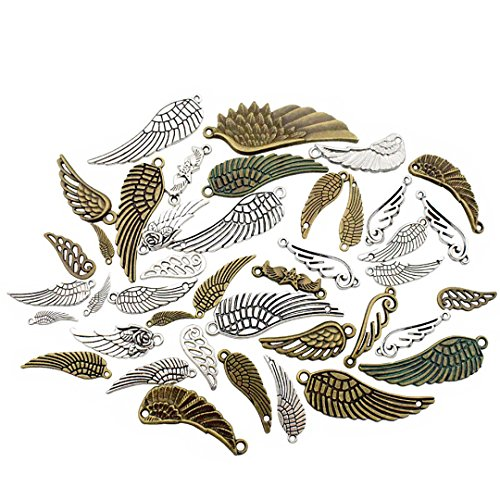 100g (About 50pcs) Craft Supplies Feather Angel Wings Charms Pendants for Crafting, Jewelry Findings Making Accessory for DIY Necklace Bracelet (M019)