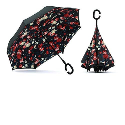 FLISKO Umbrella Windproof, Reverse Umbrella, Umbrellas for Women with UV Protection, Upside Down Umbrella with C-Shaped Handle(multi)