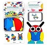 StillCool Tangram Puzzle, 36 Tangram Puzzle de Madera Montessori+ 60 PCS Diseño Tarjetas para Bloques de Patrones de Madera Animales Puzzles Juegos de Clasificación y Apilamiento para Niños(3 años )