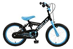 16 inch steel spoked wheels with electric blue rims, with real pump up, chunky mtb tread all-terrain tyres. Twin calliper brakes with adjustable, child friendly easy reach levers and matching cables. Sturdy hi-tensile rigid steel 'Y'-frame in gloss b...