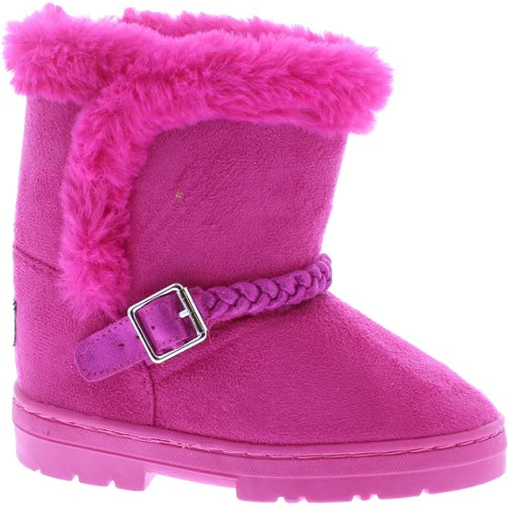 Toddler Girls Mid Calf Microsuede Winter Boots with Faux Fur Trim and Braided Strap,New Fuchsia,5