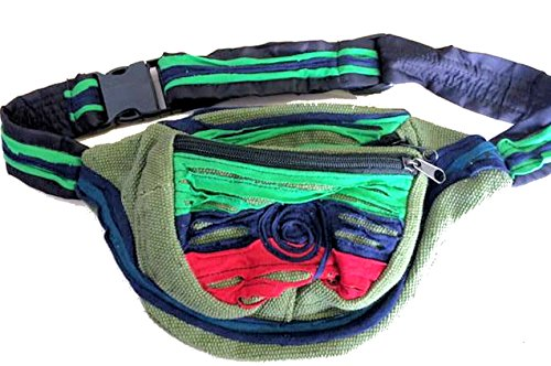 Fair Trade Hell Funky Green Nepalesischen Bumbag / Wallet / Geldbörse / Taille Pack 492n