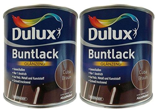 2 x 500 ml Dulux Buntlack Glänzend innen/außen 1 L Farbwahl, Farbe:Cuba Braun