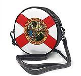 BAODANLA Bolso redondo mujer Round Crossbody Bag Flag of Florida Handbag Purse Single Shoulder Bag Sling Bag