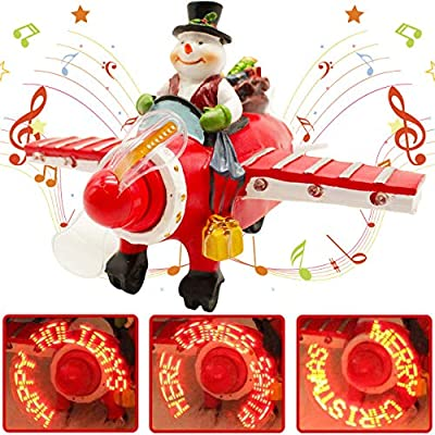 X-PREK Christmas Collectible Figurine Santa Musical Airplane,LED Light Up Ornament Christmas Airplane Gifts Holiday Decoration