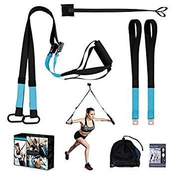 KEAFOLS Bodyweight Fitness Resistance Kit Extension Strap Door Anchors Powerlifting Strength Workout Straps Full Body Complete Home Gym Body Core Exercise  Blue