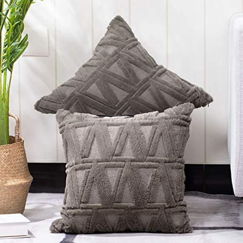 Madizz Pack of 2 Soft Plush Short Wool Velvet Decorative Throw Pillow Covers Luxury Style Pillow Shell Cushion Case for Sofa Bedroom Square Taupe 18x18 inch