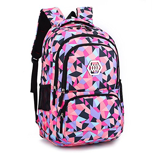 Kanodan Girls Primary School Backpack Geometric Print Book Bag (Black)