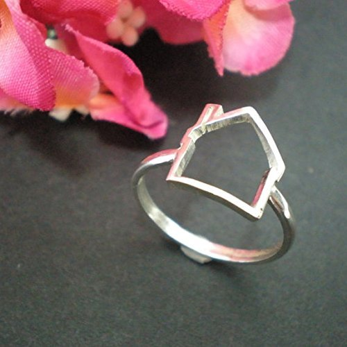 Handmade Sterling Silver Realtor Home Sweet Home Ring for Real Estate Agent