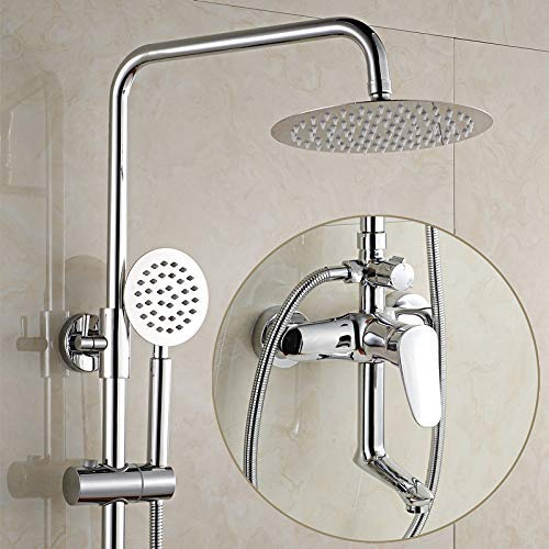 Alle drie de douchecabines in koper hebben de badkamermuur gerepareerd om de regendouches op te heffen met een sproeier van de koudwaterkraan, F