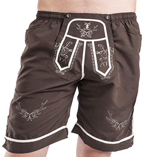 Trachten Badehose - Strandjäger - Badeshorts - Lederhose - Trachtenbadehose Shorts (S)