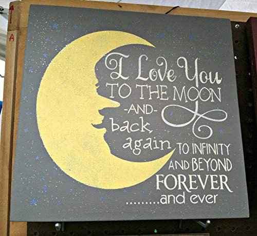 "Cartello in legno, con scritta ""I love you to the moon and back and back to infinity and beyond forever and ever in legno, dimensioni maggiori 45,7 x 45,7 cm"