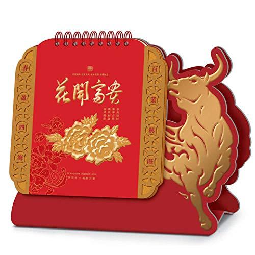 Calendario Sobremesa Escribir Chinos Año Nuevo 2021 Calendario Sobremesa Pequeno para el Año Lunar del Buey,23.5x8x20.5cm,Cuadro de Peonía de Pintura China Calendario Familiar 2021 para El Año Del Bu