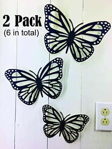 2 packs of 3 Butterflies - Large Butterfly Approx 11 x 8 inches - This is NOT Vinyl Decal or Peel Stick - 1/16 inch Thick matboard - Easily Tak-it-Up with Plasti-Tak provided Removable Paintable decor