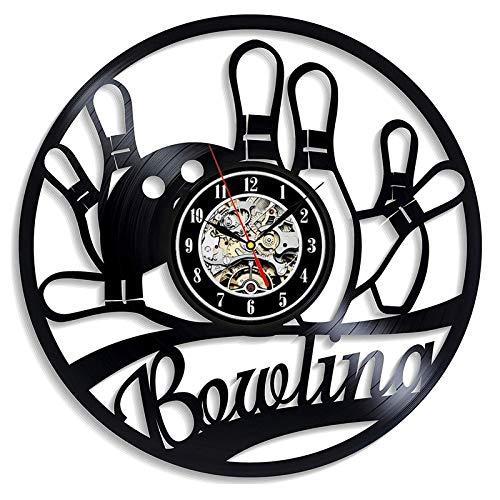 BFMBCHDJ Schallplatte Wanduhr Modernes Design 3D-Dekoration Hängende Bowling Sport Schallplatte Uhren Bowl Club Wanduhr Home Decor Mit LED 12 Zoll