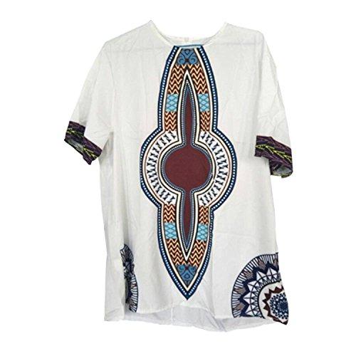 Deylaying Hombre Vendimia Africano Nacional Estilo Disfraz Tribal Camisas Tradicion Vestidos Impreso Mangas Cortas Dashiki