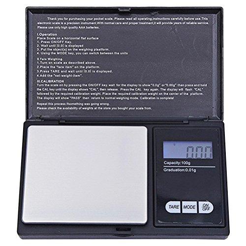 WINOMO Digitalwaagen mit Hintergrundbeleuchtung LCD-Display für Schmuck Küche Lebensmittel 200G/0.01G (Schwarz)