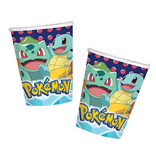 Generique - Pokémon-Pappbecher Tischzubehör 8 Stück bunt 250 ml