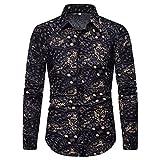 Aiglen Camisas de negocios de impresión de ocio masculino camisa de manga larga delgada masculino hombres oro negro floral impresión casual camisas (Color : Black, Size : L code)