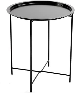 Finnhomy Small Round Side End Table, Sofa Table, Tray Side Table, Snack Table, Metal, Anti-Rusty, Outdoor and Indoor Use for