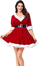 Colorful House Women's Sexy Mrs. Claus Costume, V Neck Dresses With Hats