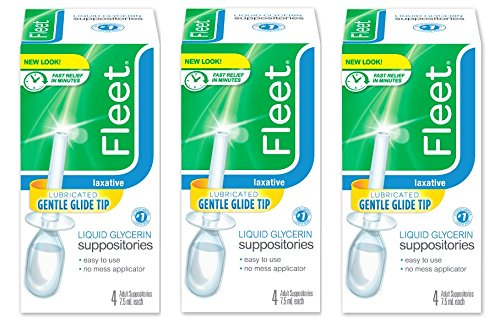 Fleet Liquid Glycerin Suppositories for Adult Constipation, 4 Bottles, 3 Pack