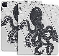 タコ かっこいいiPad Pro 12.9 ケース 2020 iPad 12.9インチ / iPad Pro 11インチ 2020用ハード背面カバー 手帳型 高級品質 PUレザー カバー オートスリープ/ウェイク機能 Apple Pencil 2 ワイヤレス充電対応 軽量 留め具付き 角度調節可能な鑑賞スタンド 防衝撃デザイン 三つ折りスマートケース