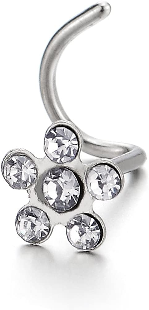 COOLSTEELANDBEYOND Stainless Steel Flower Screw Nose Rings Studs with Cubic Zirconia Body Jewelry Piercing