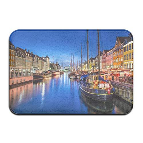 AoLismini Badmatta, nöjesområde Danmark Nyhavn kanal Köpenhamn flod båtar butiker attraktion plysch badrumsmatta med halkfri baksida
