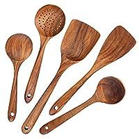 aoosy utensili per cucina, 5 pezzi set utensili da cucina giapponesi in legno set di utensili senza graffio resistente al calore set di utensili da cucina in legno per padelle antiaderenti set cucina