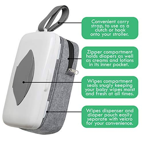 ARTIBETTER On-The-Go Baby Wipes Dispenser Portable Wet Tissue Case Holder Personal Paper Pouch for Stroller Pram Travel Blue