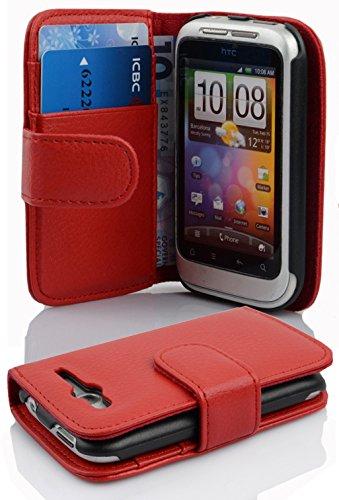 Cadorabo Hülle für HTC Wildfire S in Inferno ROT – Handyhülle aus Strukturiertem Kunstleder mit Standfunktion und Kartenfach – Case Cover Schutzhülle Etui Tasche Book Klapp Style