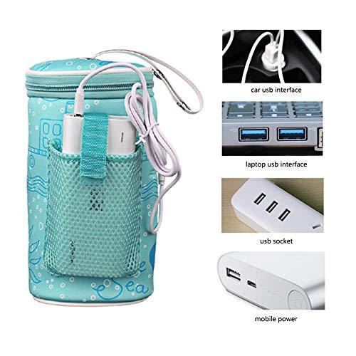 funnyfeng Baby Flaschenwärmer Tasche, Babykostwärmer Mit Warmhaltefunktion, Mobiler Babyflaschenwärmer, USB Intelligente Temperaturregelung Geeignet Für Flaschen