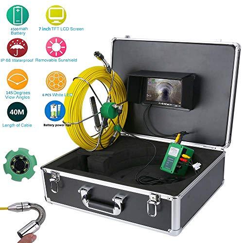 XIAODONGDONG Wasserdichtes Abflussrohr-Abwassersystem 7LCD 1000 TVL-Kamera mit 6W LED-Leuchten für die Rohrinspektionskamera IP68,40M
