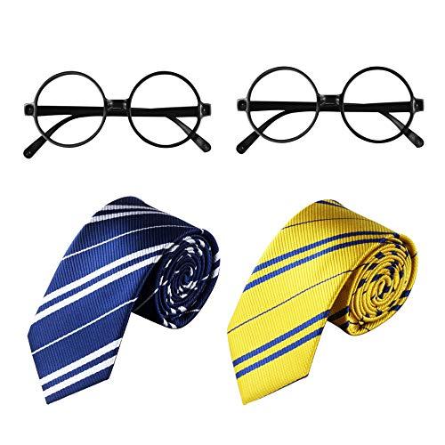 YOSICIL Disfraz de Mago Escolar,Gafas Negro de Marco Corbata para Adultos y Nios Disfraz de Corbata para nios Disfraces de Cosplay Accesorios Set