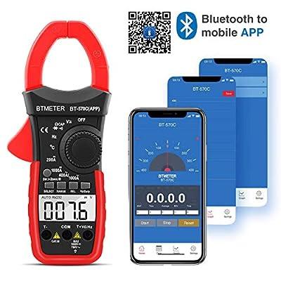 BTMETER BT-570CAPP Digital Clamp Meter Multimeter, Auto-Ranging Bluetooth Amp Meter for AC&DC Current Amperage Voltage Resistance Temp Electrical HVAC Ammeter with Backlit Continuity