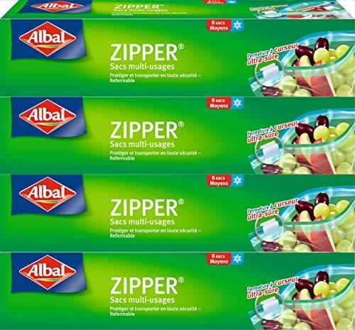 Albal 8 Sacs Multi-Usages, Curseur Zipper, Hermétique, Lot de 4 Boîtes, 3 L