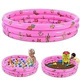 Planschbecken Kinder Rund Aufblasbares Pool Schwimmbecken Kinderpool Babypool Kleinkind Aufstellpool für Garten und Outdoor/Pink / 130X30CM