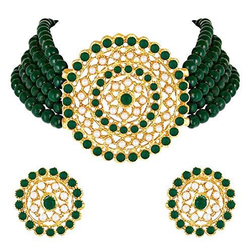 Aheli Gargantilla de diamantes de perlas con pendientes redondos para mujeres y niñas, juego de joyería tradicional indio Bollywood verde