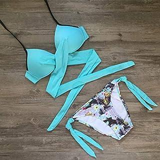 BEESCLOVER Cross Bandage Bikini 2018 Swimsuit Women Push Up Bikini Set Halter Plus Size Swimwear Patchwork Bathing Suit Q257