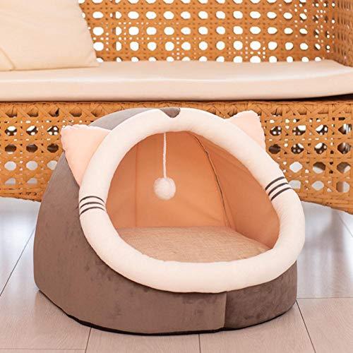 KLIEUWDBAARASRASJ Cálido suave gato cama invierno caliente casa cueva perro nido suave perrera gatito cama casa saco de dormir para perros pequeños medianos suministros-caqui, S - para 2.5kg, China